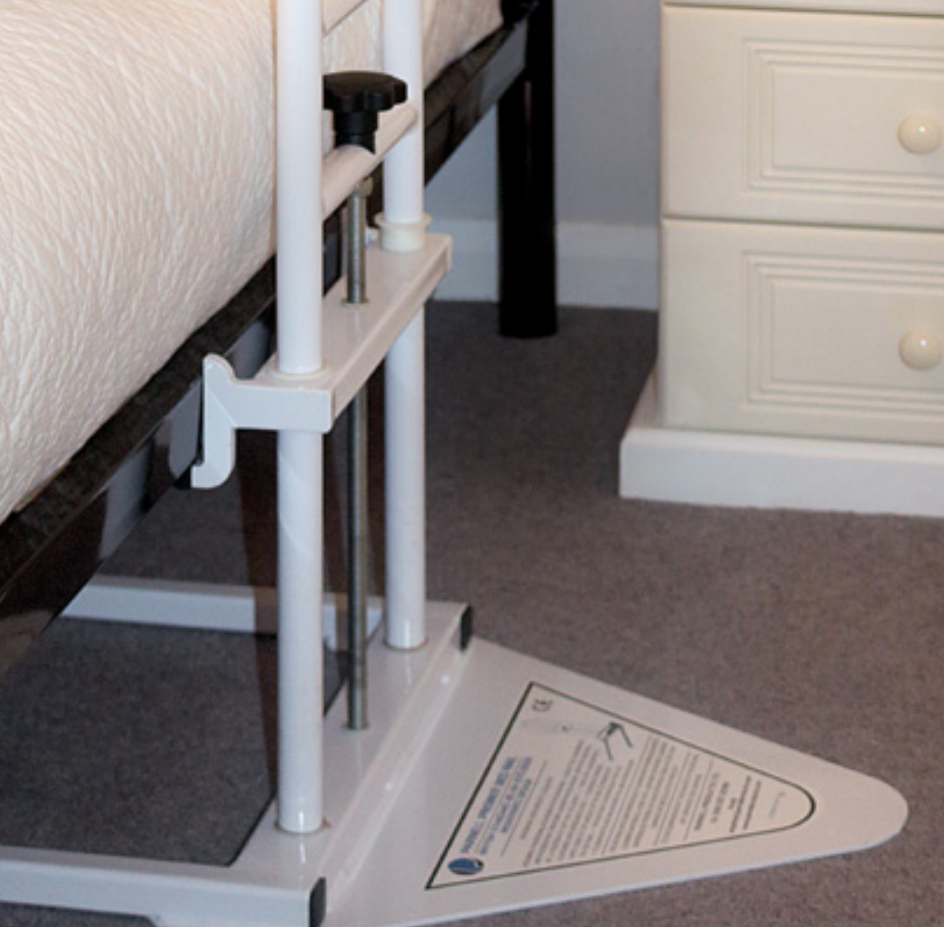 Secure fit of the Parnell Bed Grab Rail between the bed frame and floor