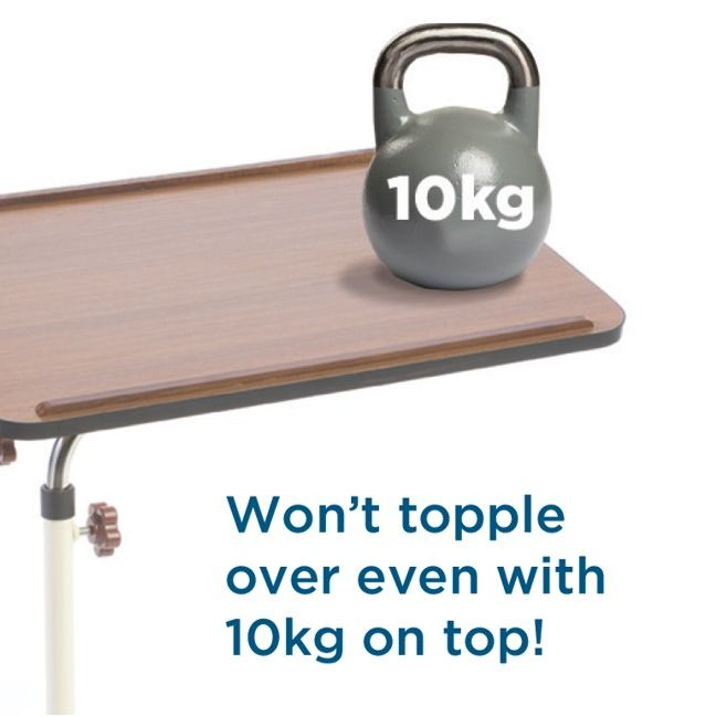 Anti-topple design of Alerta Overbed Table
